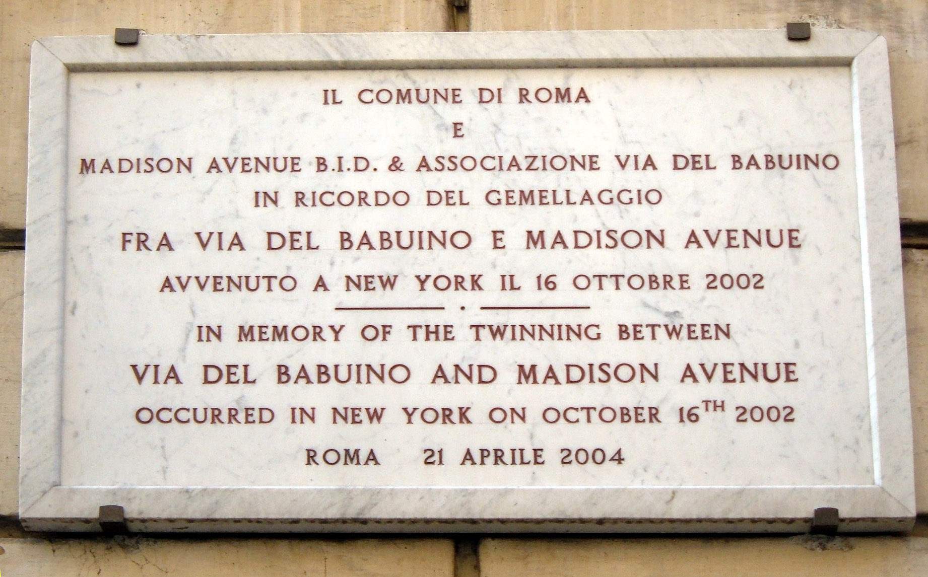 Gemellaggio_Via_del_Babuino_Rome_-_Madison_Avenue_NY